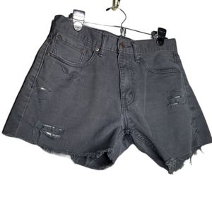 Levi's 505 White Tab Distressed Charcoal Shorts 29